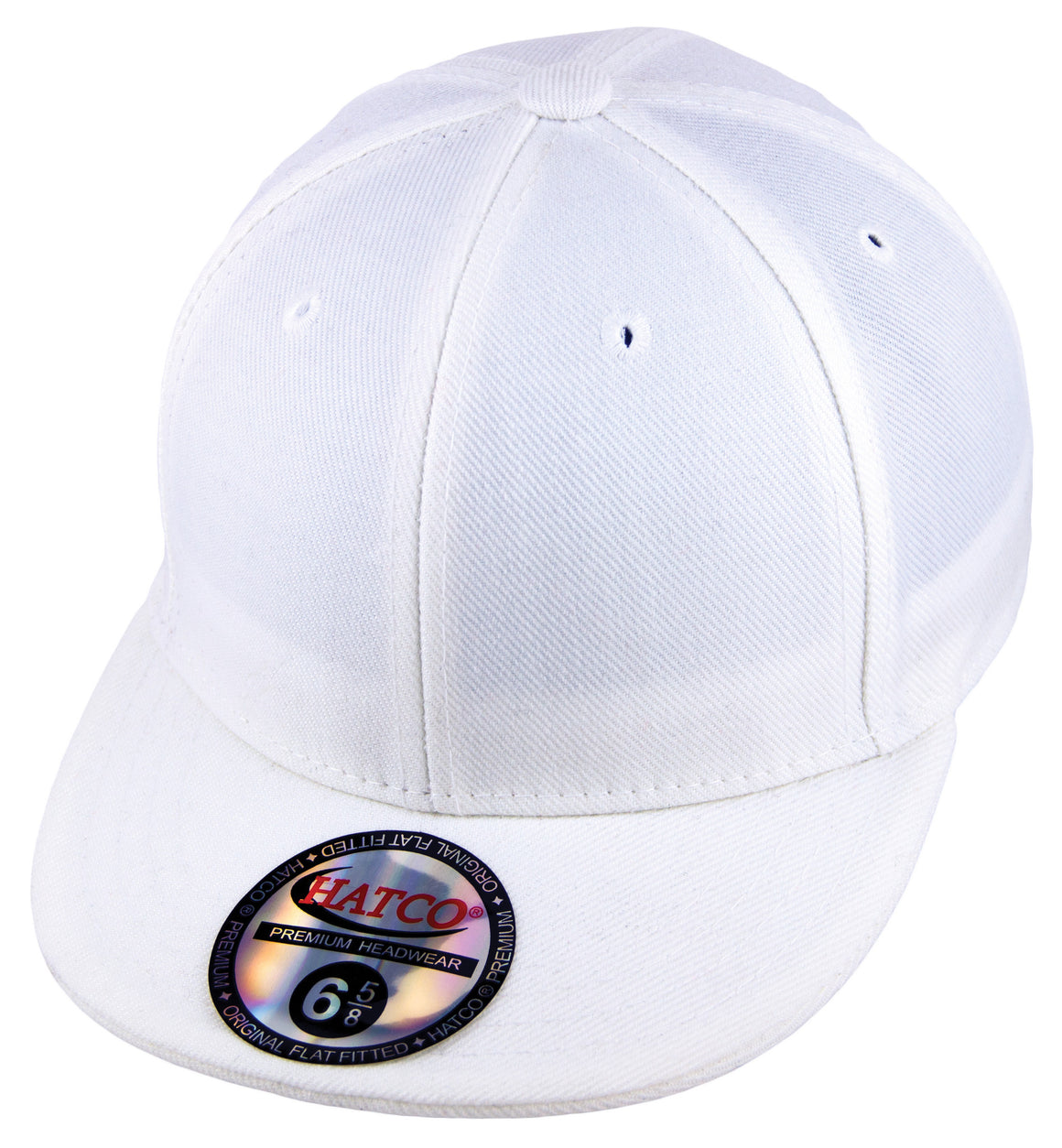 Blank Flat Fitted Cap - Kids - White - HATCOcaps.com