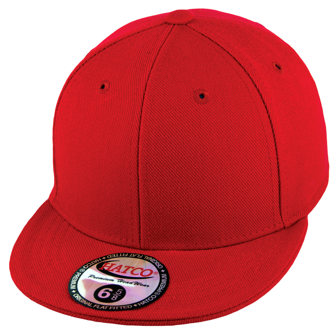 Blank Flat Fitted Cap - Kids - Red - HATCOcaps.com