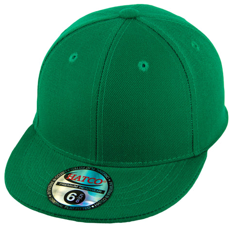 Blank Flat Fitted Cap - Kids - Kelly Green - HATCOcaps.com