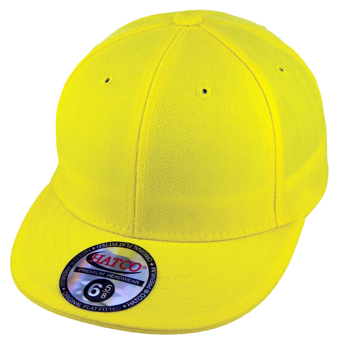 Blank Flat Fitted Cap - Kids - Yellow - HATCOcaps.com