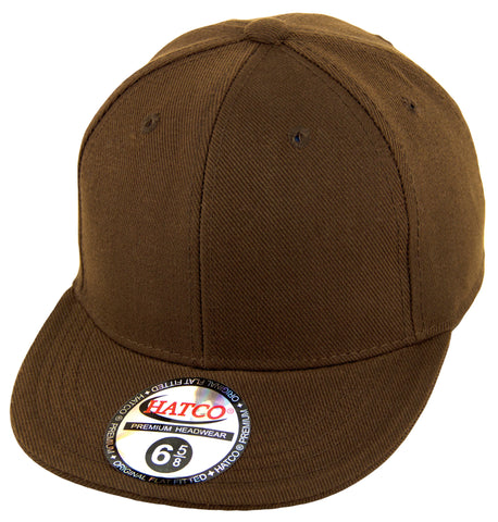 Blank Flat Fitted Cap - Kids - Brown - HATCOcaps.com