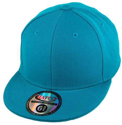 Blank Flat Fitted Cap - Kids - Aqua - HATCOcaps.com