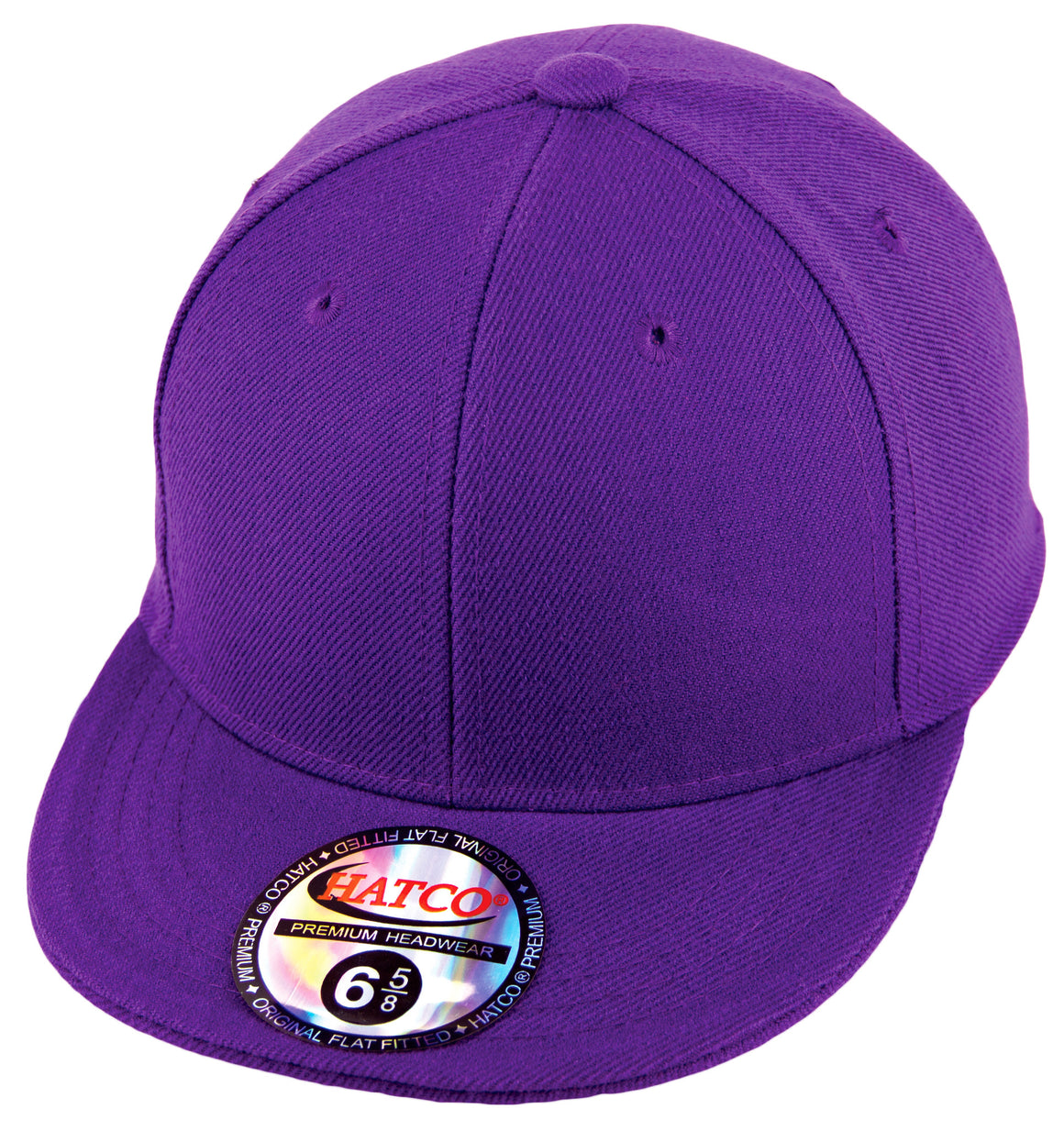 Blank Flat Fitted Cap - Kids - Purple - HATCOcaps.com