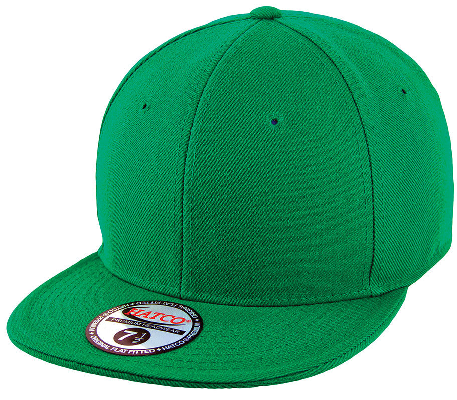 Blank Flat Fitted Cap - Kelly Green - HATCOcaps.com