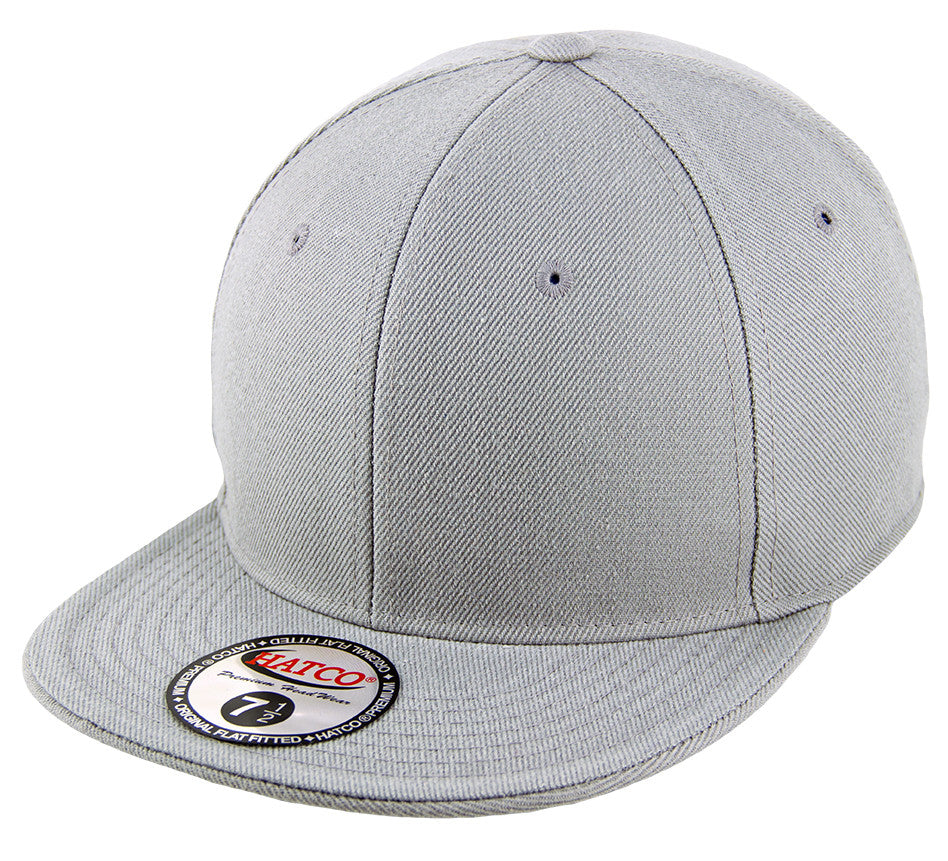 2feaee103f65 Blank Flat Fitted Cap - Light Grey
