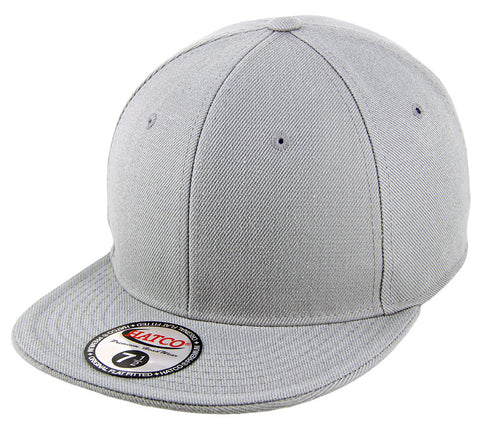 Blank Flat Fitted Cap - Light Grey - HATCOcaps.com