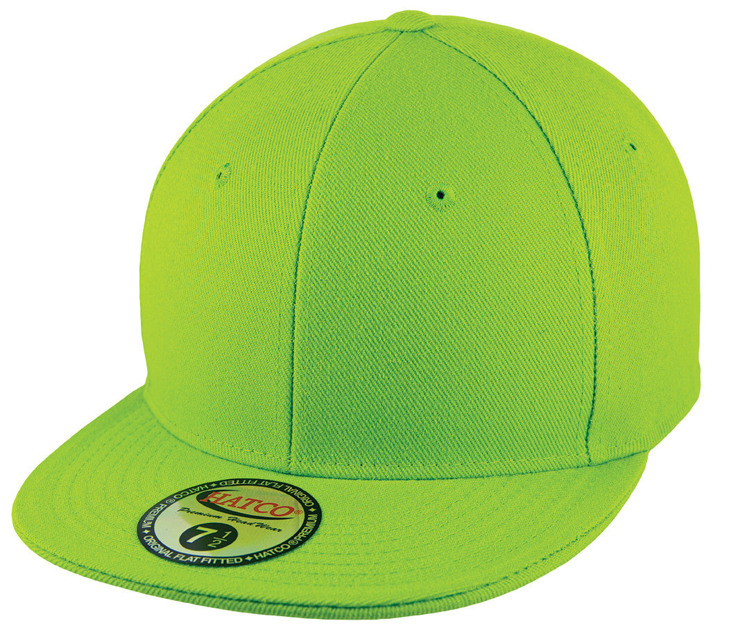Blank Flat Fitted Cap - Lime - HATCOcaps.com