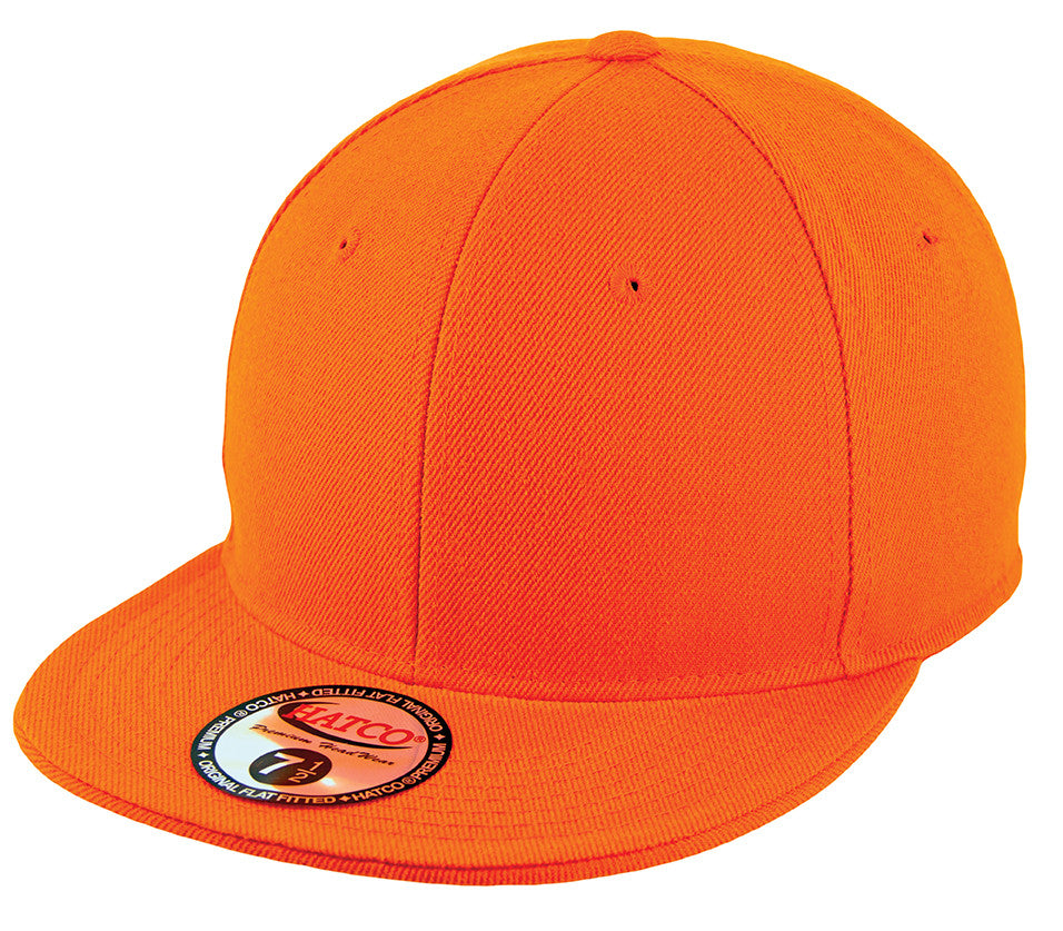 Blank Flat Fitted Cap - Orange - HATCOcaps.com