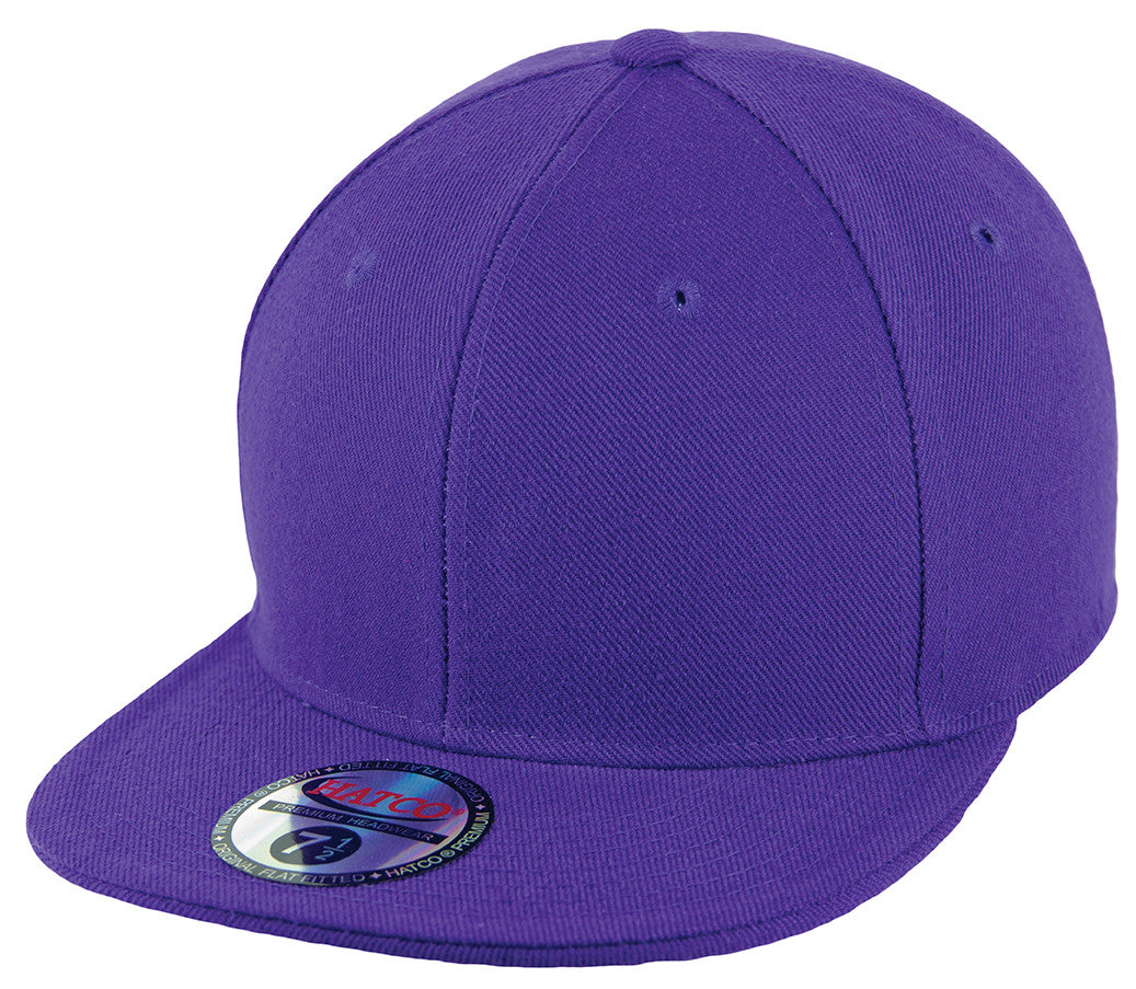 Blank Flat Fitted Cap - Purple - HATCOcaps.com