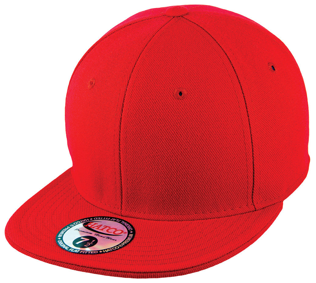 Blank Flat Fitted Cap - Red - HATCOcaps.com