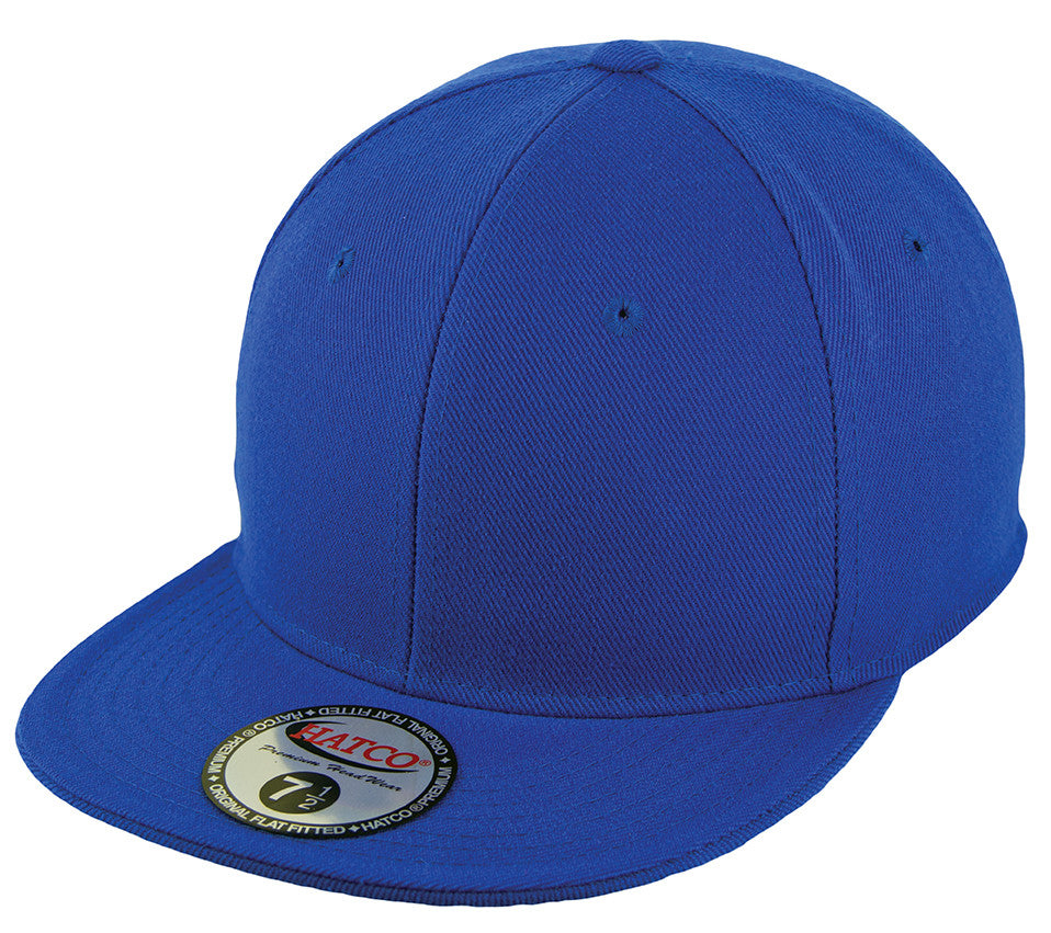 Blank Flat Fitted Cap - Royal - HATCOcaps.com
