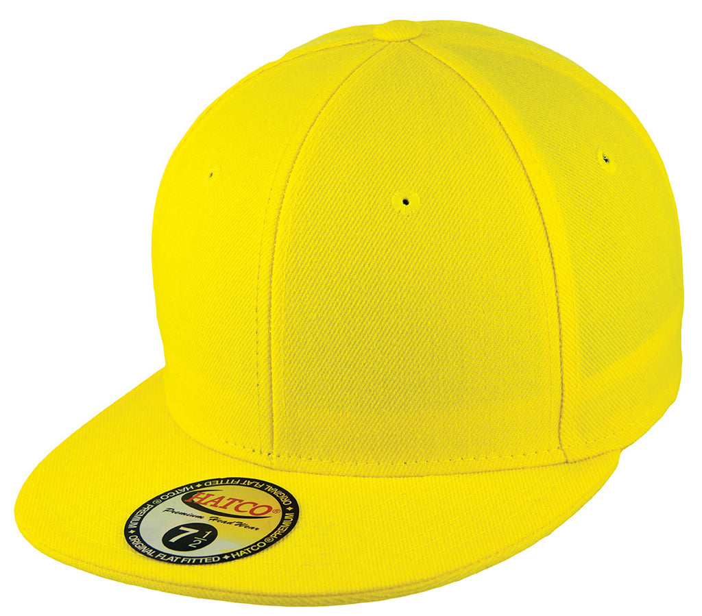 Blank Flat Fitted Cap - Yellow - HATCOcaps.com