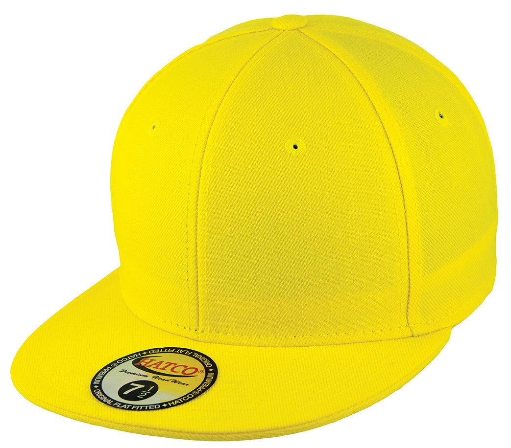 Blank Flat Fitted Cap - Yellow - HATCOcaps.com 06450464308