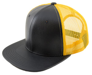 Blank PU Leather Mesh Snapback Caps - HATCOcaps.com  - 1