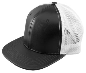 Blank PU Leather Mesh Snapback Caps - HATCOcaps.com  - 2