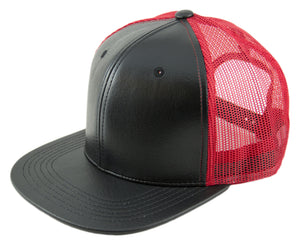 Blank PU Leather Mesh Snapback Caps - HATCOcaps.com  - 6