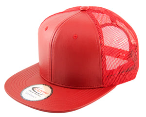 Blank PU Leather Mesh Snapback Caps
