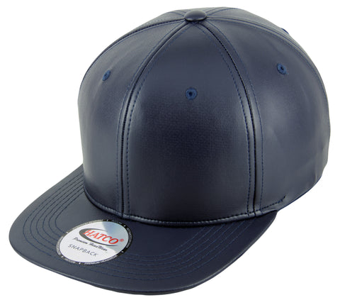 Blank PU Leather Snapback Cap - Navy - HATCOcaps.com