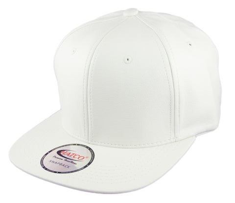 Blank PU Leather Snapback Cap - White - HATCOcaps.com