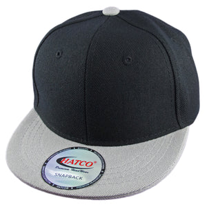 Blank Acrylic Snapback Cap - Kids - Black/Light Grey - HATCOcaps.com