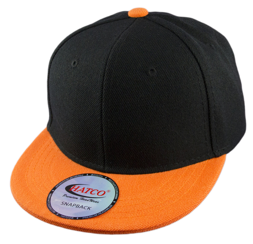 Blank Acrylic Snapback Cap - Kids - Black/Orange - HATCOcaps.com