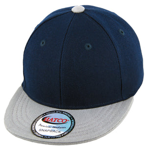 Blank Acrylic Snapback Cap - Kids - Navy/Light Grey - HATCOcaps.com