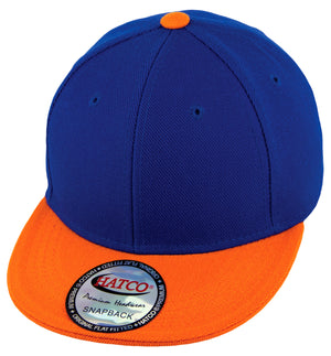 Blank Acrylic Snapback Cap - Kids - Royal/Orange - HATCOcaps.com