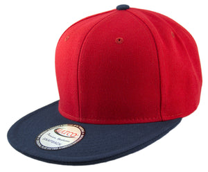 Blank Acrylic Two-Tone Snapback Cap - Red/Navy - HATCOcaps.com