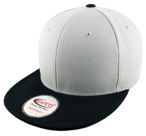 Blank Acrylic Two-Tone Snapback Cap - Light Grey/Black - HATCOcaps.com