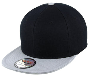 Blank Acrylic Two-Tone Snapback Cap - Black/Light Grey - HATCOcaps.com