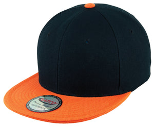 Blank Acrylic Two-Tone Snapback Cap - Black/Orange - HATCOcaps.com