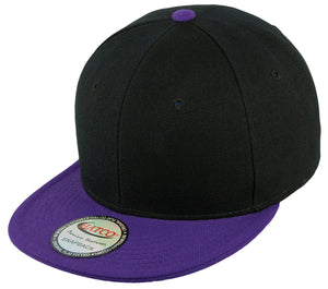 Blank Acrylic Two-Tone Snapback Cap - Black/Purple - HATCOcaps.com