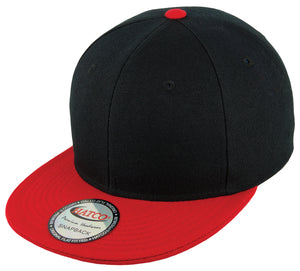 Blank Acrylic Two-Tone Snapback Cap - Black/Red - HATCOcaps.com