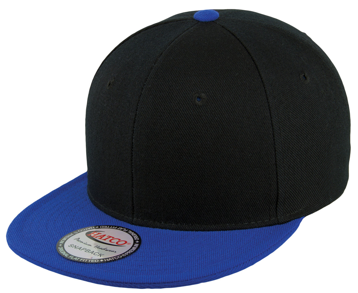 Blank Acrylic Two-Tone Snapback Cap - Black/Royal - HATCOcaps.com