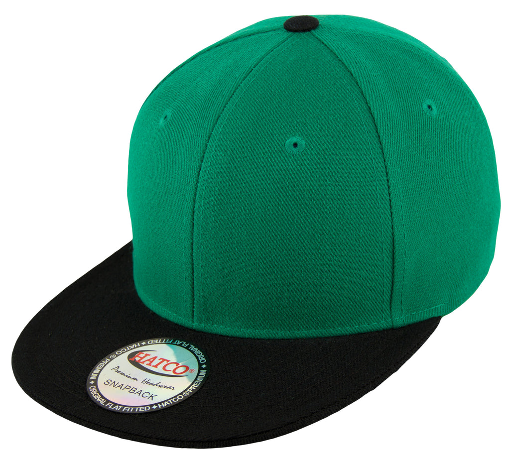 Blank Acrylic Two-Tone Snapbacks - K.Green/Black - HATCOcaps.com