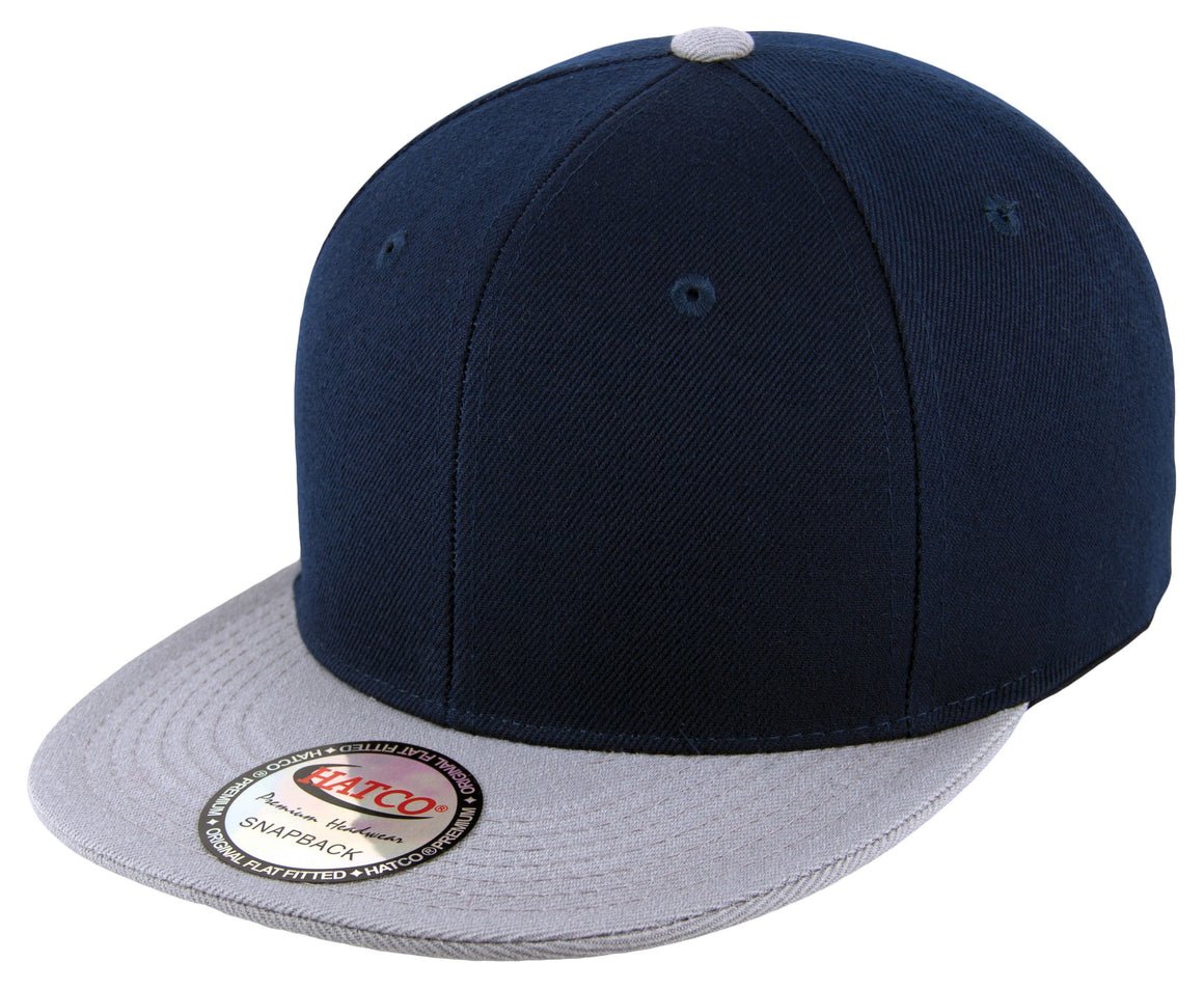 Blank Acrylic Two-Tone Snapback Cap - Navy/Light Grey - HATCOcaps.com