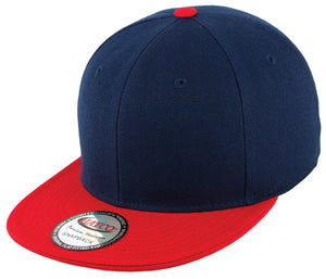 Blank Acrylic Two-Tone Snapback Cap - Navy/Red - HATCOcaps.com