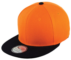 Blank Acrylic Two-Tone Snapback Cap - Orange/Black - HATCOcaps.com