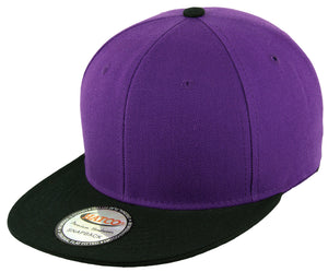 Blank Acrylic Two-Tone Snapback Cap - Purple/Black - HATCOcaps.com