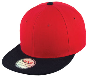 Blank Acrylic Two-Tone Snapback Cap - Red/Black - HATCOcaps.com