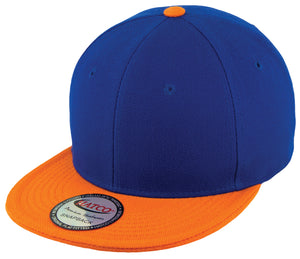 Blank Acrylic Two-Tone Snapback Cap - Royal/Orange - HATCOcaps.com