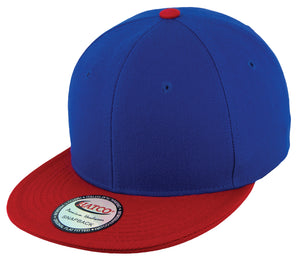 Blank Acrylic Two-Tone Snapback Cap - Royal/Red - HATCOcaps.com