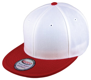 Blank Acrylic Two-Tone Snapback Cap - White/Red - HATCOcaps.com