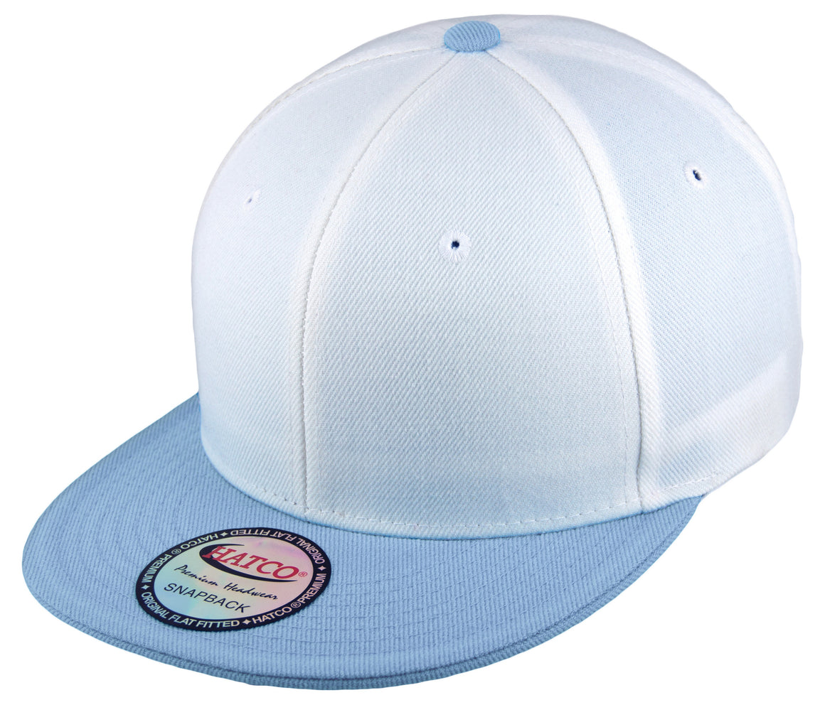 Blank Acrylic Two-Tone Snapbacks - White/Sky Blue - HATCOcaps.com