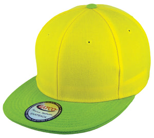 Blank Acrylic Two-Tone Snapbacks - Yellow/Lime - HATCOcaps.com