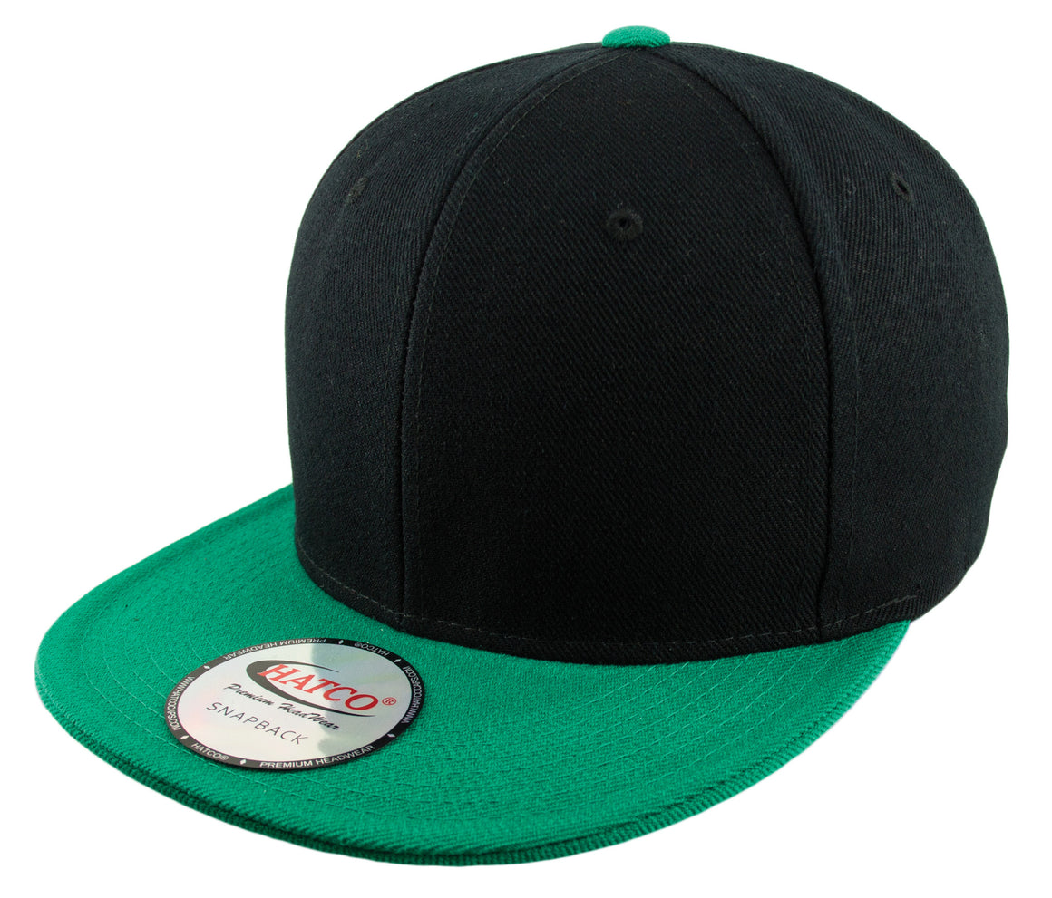 Blank Acrylic Two-Tone Snapback Cap - Black/Kelly Green - HATCOcaps.com