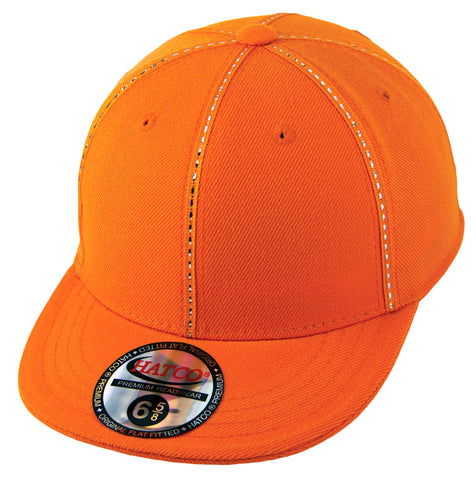 Blank Fitted Metallic Stitch Cap - Kids - Orange - HATCOcaps.com