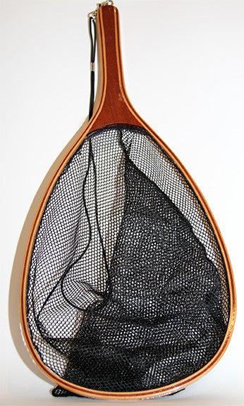 Fabric mesh landing net with laminated hard wood.