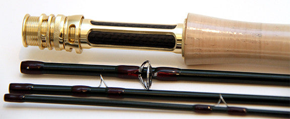 Sky high fast action IM12 fly rod. Titanium and chrome guides, gold and carbon reel seat