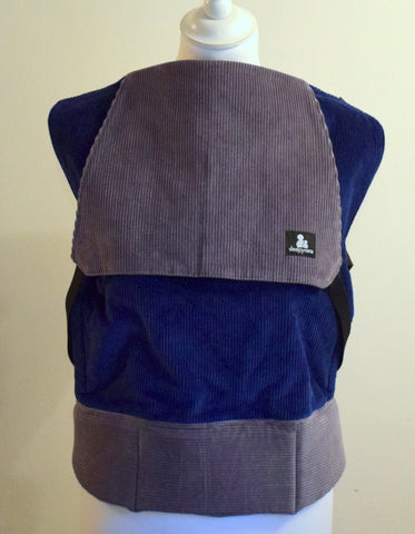 Comfy Cord in grey and royal blue - Toddler Size Carrier
